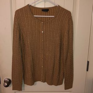 Shimmery cardigan sweater.